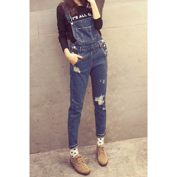 Broken Hole Bleach Wash Women's Denim Overalls