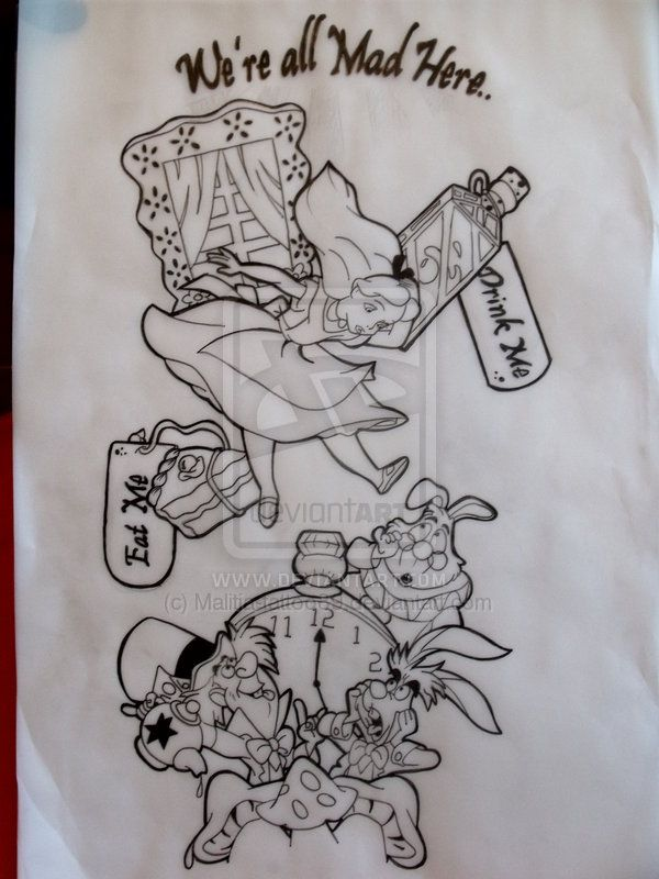 Alice in wonderland sleeve tat by Malitia-tattoo89.deviantart.com on @deviantART