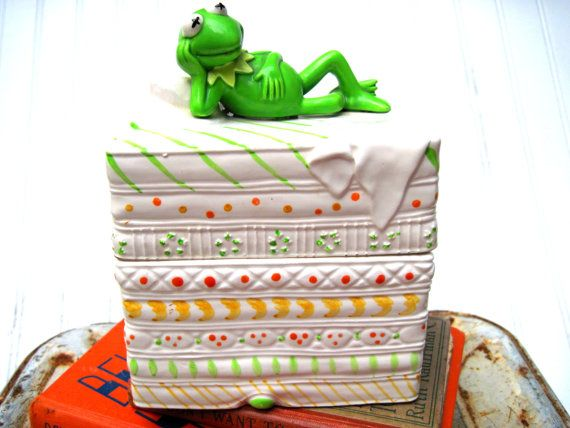 1978 Kermit the frog ceramic box princess and the by southcentric, $51.00