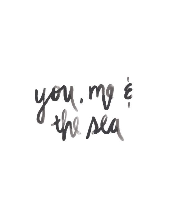 You, Me & the Sea | Watercolor Handlettering print by Kristen Laczi of Hello Monday Design | Tropical Art | Beach Art  | Beachy | Tropical Getaway | Travel Lust | Wanderlust | Handwriting | Lettering | Black & White | Seaside | Beach | Ocean | Hawaii | Beach Life | Sandy Toes | Love & the Sea | Honeymoon | Honeymooners | Watercolors