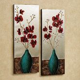 Orchid Medley Canvas Wall Art Set Silver Set of Two