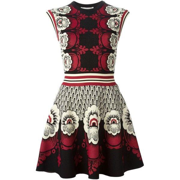 Valentino intarsia knit dress (161,775 PHP) ❤ liked on Polyvore featuring dresses, vestidos, valentino, multicolour, white dress, round neck sleeveless dress, multi-color dress, multi colored dress and colorful dresses