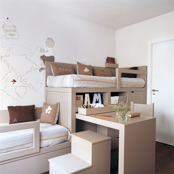 Habitación infantil con un mueble a medida con dos camas y escritorio