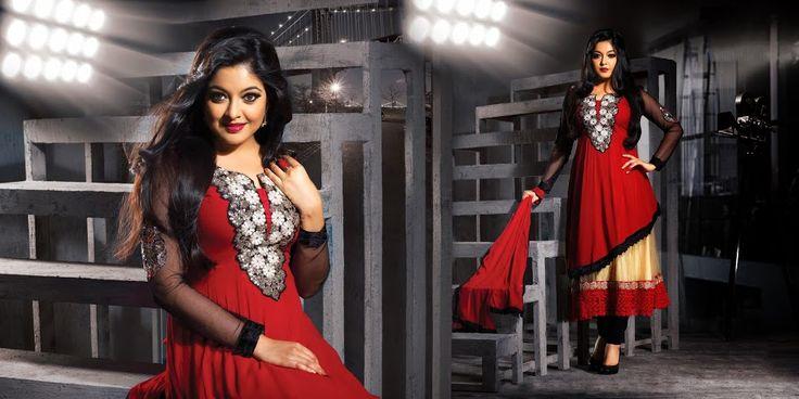 Sparkling Bick Red, Bige Brown & Black Salwar Kameez | StylishKart.com