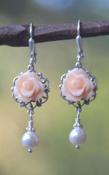 Peach Rose and White Swarovski Pearl Bridesmaid