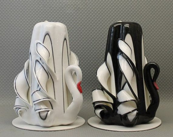 handmade carved candle, white and black swan, Housewarming gift, birthday present ideas , gifts for groomsmen, great birthday gifts