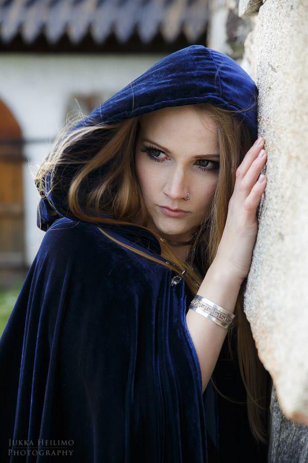 Blue Velvet Cloak medieval fantasy style photoshoot   Photo: Jukka Heilimo