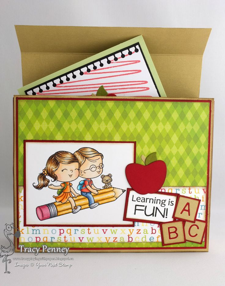 Your Next Stamp Supplies: Learning is fun, Scribble Fun One, Apple die, Letter Board die, Notebook Edge die  Paper: Bo Bunny Toy Box