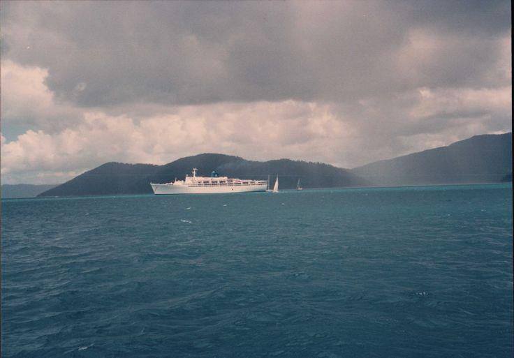 Cruise ship in Whitsunday Passage.