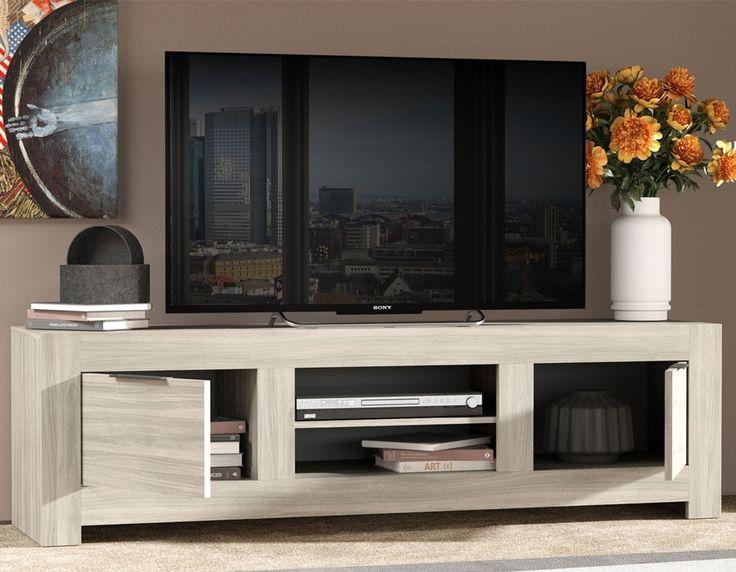 Meuble TV contemporain couleur chêne clair TREVISE