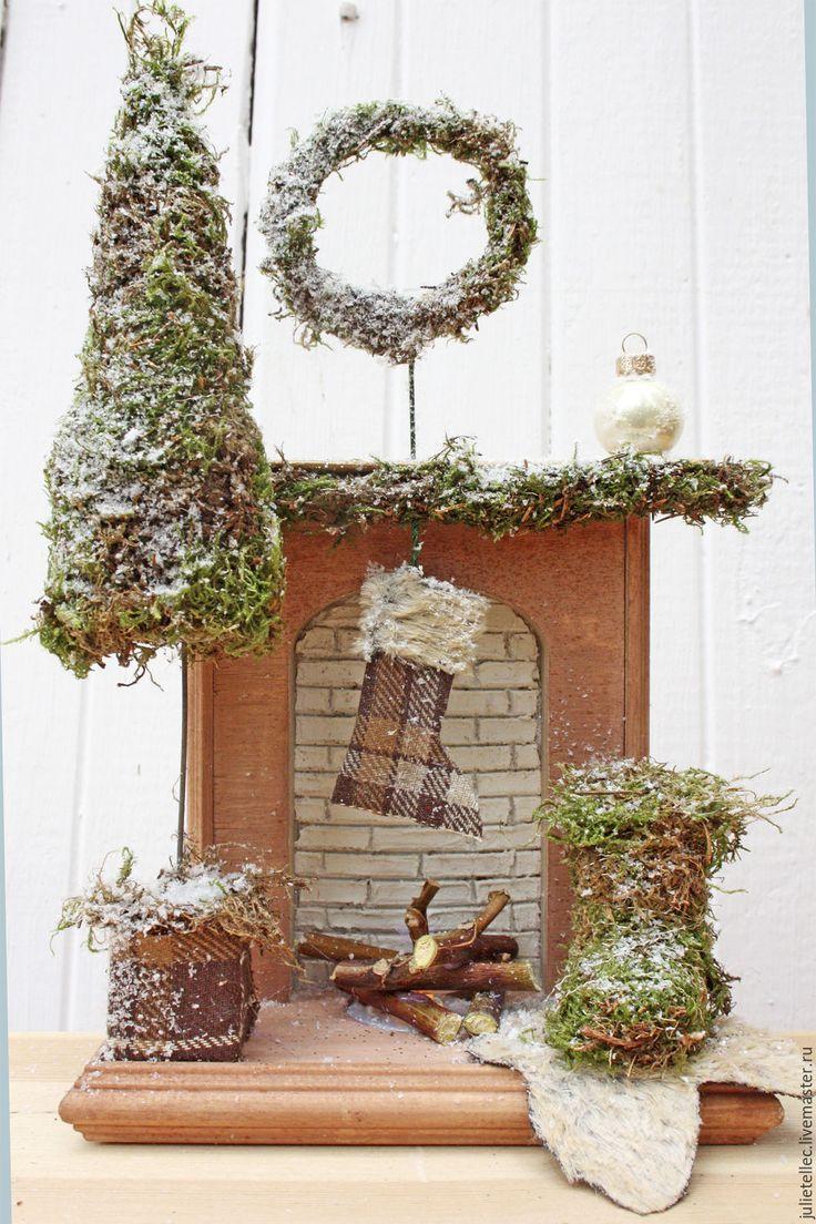 Купить Миниатюрный камин - коричневый, камин, фальш камин, миниатюра, новогодний…
