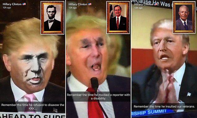 Hillary Clinton attacks Donald Trump with face-swap Snapchats