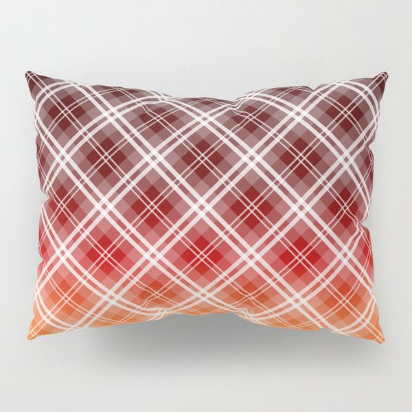 Tropical Red Sunset Tartan Plaid Check Pillow Sham ($40) ❤ liked on Polyvore featuring home, bed & bath, bedding, bed accessories, red bedding, plaid shams, red shams, plaid pillow shams and red pillow shams