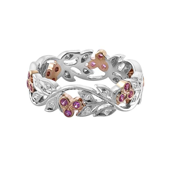 18-carat white & rose gold floral band. Set with pink sapphire and diamonds. www.kellerwood.com