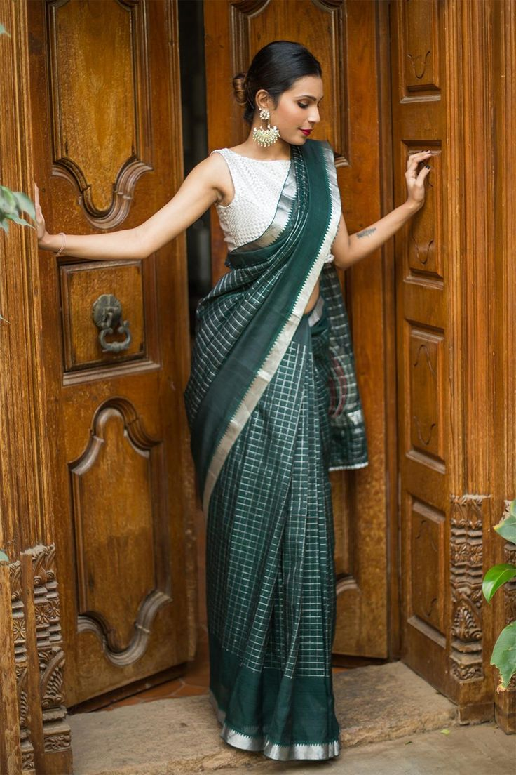 House Of Blouse Teal Green Mangalgiri Cotton Silk Saree #Green #Ethnic #Festive