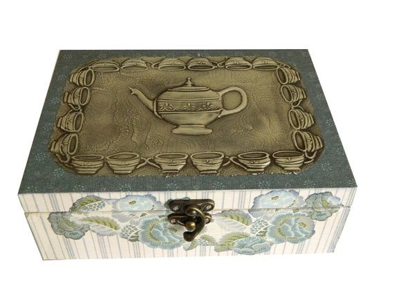 Wooden Tea Caddy Mixed Media Tea Box by Loutul on Etsy