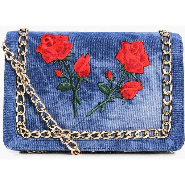 Boohoo Bella Floral Patch Denim Cross Body Bag | Boohoo ($21) ❤ liked on Polyvore featuring bags, handbags, shoulder bags, accessories, shoulder handbags, crossbody shoulder bag, floral purse, blue handbags and handbag purse