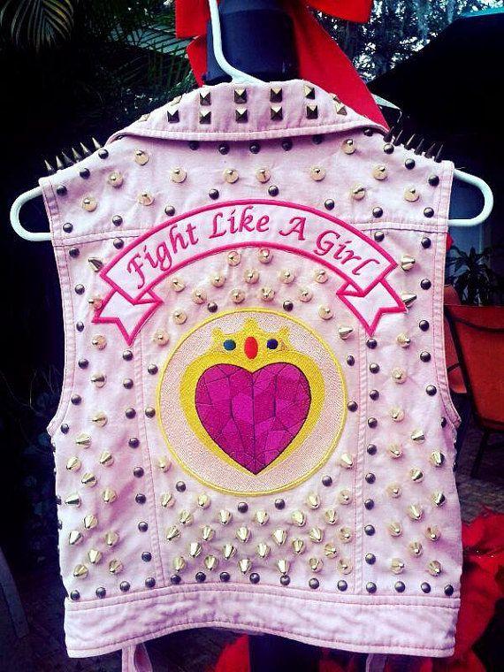 Punk vest Sailor moon vest jacket sailor moon patch spikes studs punk pink jacket pink vest battle vest battle jacket goth punk fashion