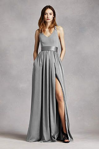Long Strapless Bridesmaid Dress With Belt
