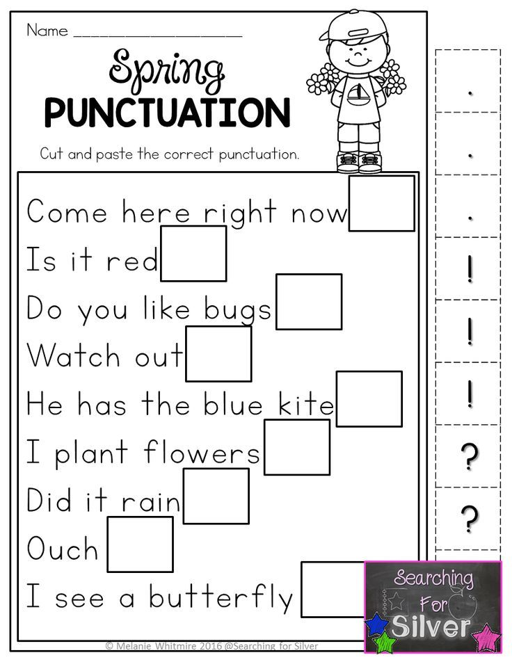 Hands-on, fun, and effective spring printables! Spring punctuation and other literacy worksheets for first grade!