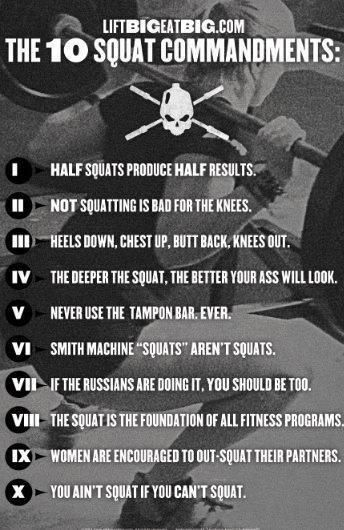 workhard-trainharder:    The Ten Commandments of Squatting