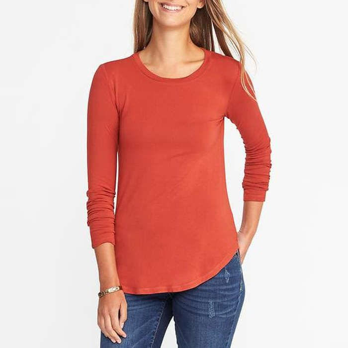 Old Navy Luxe Crew Neck Women/'s Top Size XL Orange Curved Hem Short Sleeves Soft