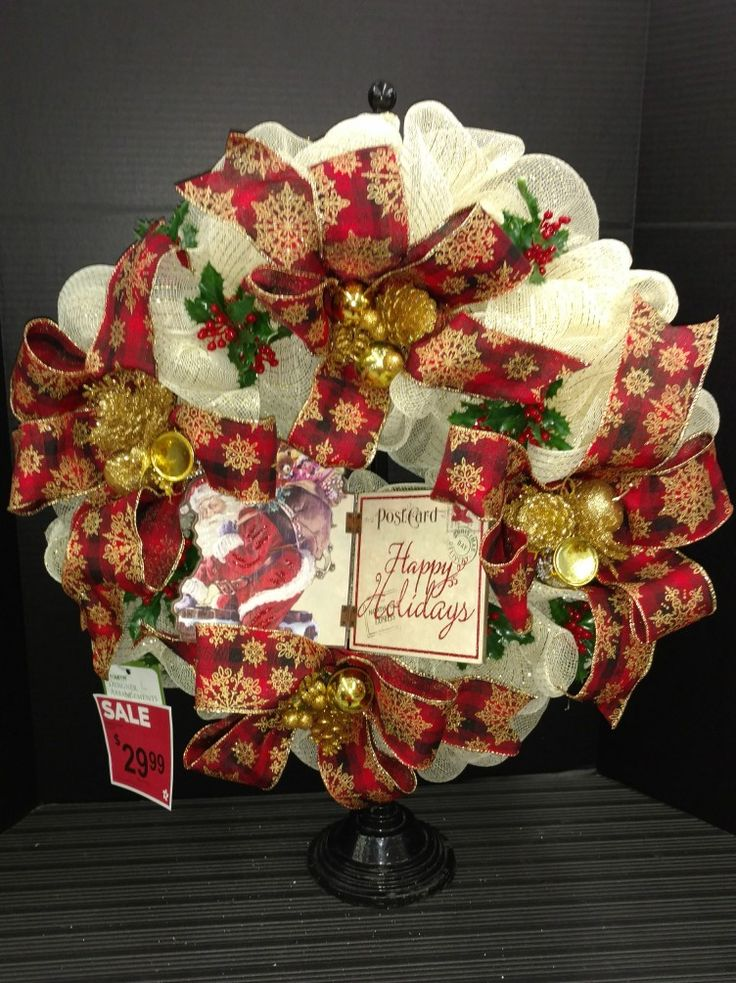 Deco Mesh Wreath by Laura Lake @AC Moore  Christmas Wreath Gold and Burgundy