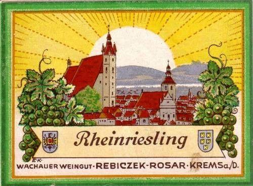 Akad. Maler Ernst Kutzer (1880-1965) . Weinetikett aus der Wachau.