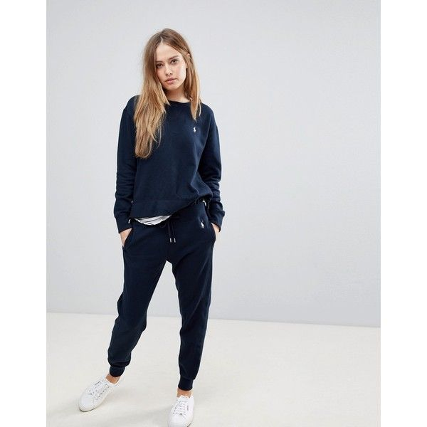 Polo Ralph Lauren Jogger With Logo (€97) ❤ liked on Polyvore featuring activewear, activewear pants, navy, polo joggers sweatpants, cuff sweatpants, polo sweatpants, polo ralph lauren sweatpants and polo sweat pants