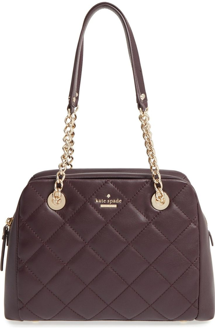Lush quilted leather and a clean-lined silhouette extend the uptown-chic appeal of this must-have handbag by Kate Spade furnished with polished chain-and-leather shoulder straps.