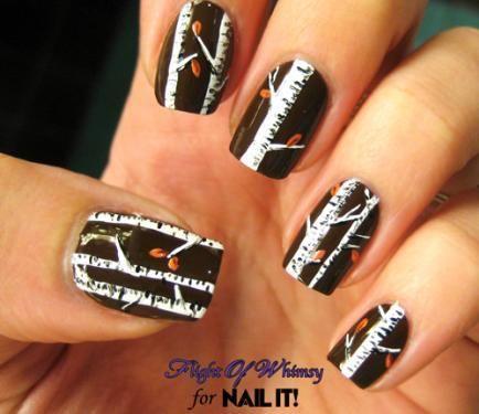 Nail Art Tutorial, Nail Designs, Birch Tree Nails, Flight of Whimsy | NailIt! Magazine