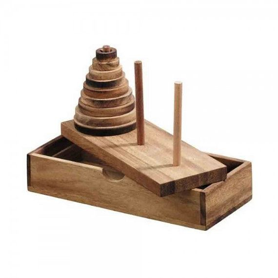 Wooden Toy : Tower of Hanoi Wooden Puzzle Game 9 by AmaWoodShop