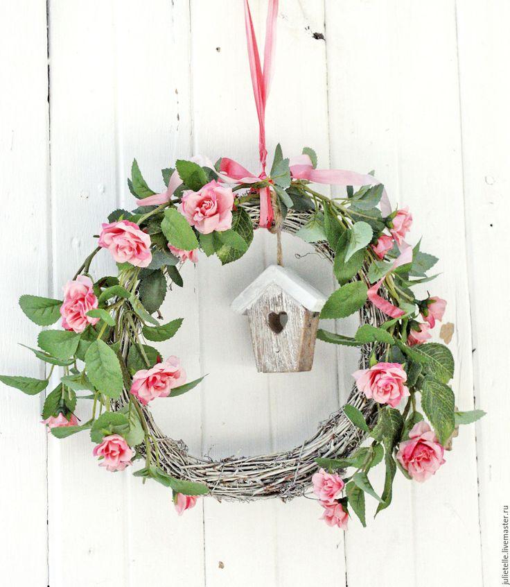 Купить Весенний венок - розовый, венок на дверь, весенний декор, декор дома…