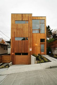 Modern Exterior - modern - Exterior - Seattle cedar siding - stain- Try Autumn Maple 3112 by Sherwin Williams.