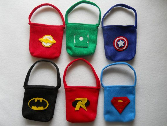Party Favor Bags set of 6 Super Heros by puppetmaker on Etsy, $12.99