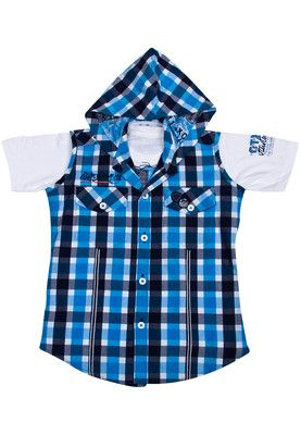 Blazo offers a blue coloured shirt with a hooded jacket for boys. Made of cotton, this shirt with a sleeveless jacket has short sleeves.  Lend your little boy a cool look with this blue coloured shirt with a hooded jacket by Blazo. This shirt with a sleeveless jacket looks very stylish. Made of cotton, this shirt with a hooded jacket ensures a comfortable fit. Team it with blue jeans and sneakers.