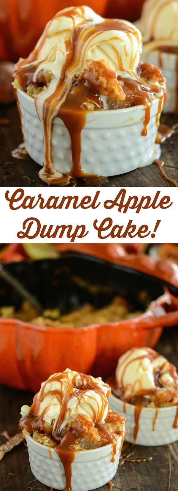 Apple Recipes: Caramel Apple Dump Cake - just a couple of easy ingredients and barely any work from you! This is always a huge crowd favorite with everyone asking for the recipe!