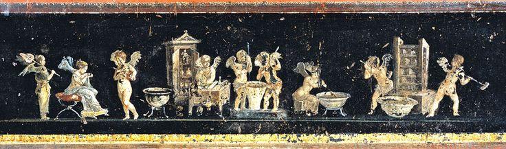 Mural with Amorini profumieri, Cherubs making parfume, House of Vettii, Pompeii.
