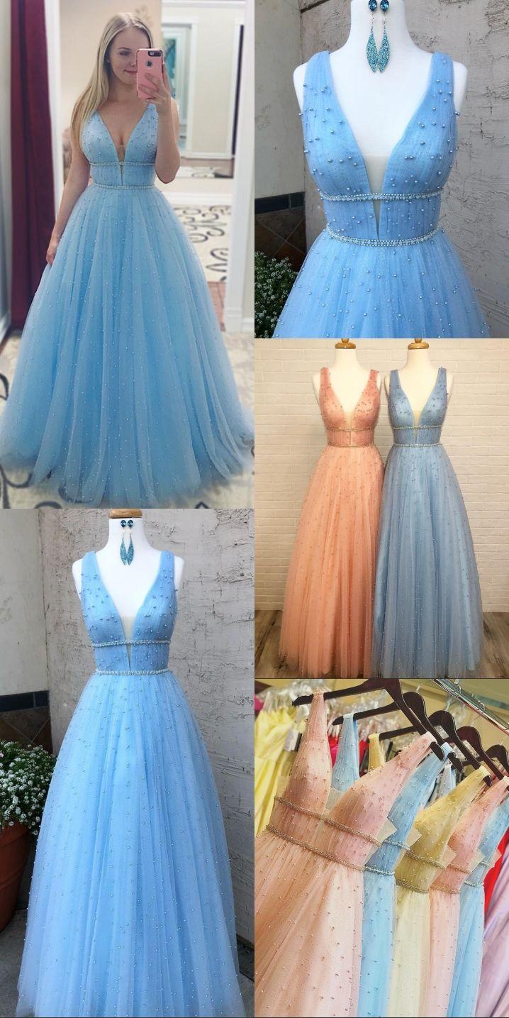 142a0ac1ad A-Line V-Neck Floor-Length Light Blue Prom Dress with Beading ...
