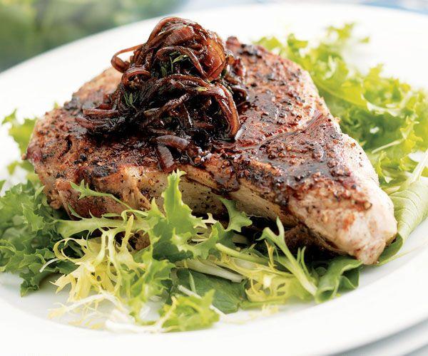 Sautéed Pork Chops with Balsamic Onions Recipe