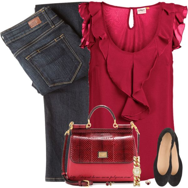 """Red Ruffles"" by stay-at-home-mom on Polyvore"
