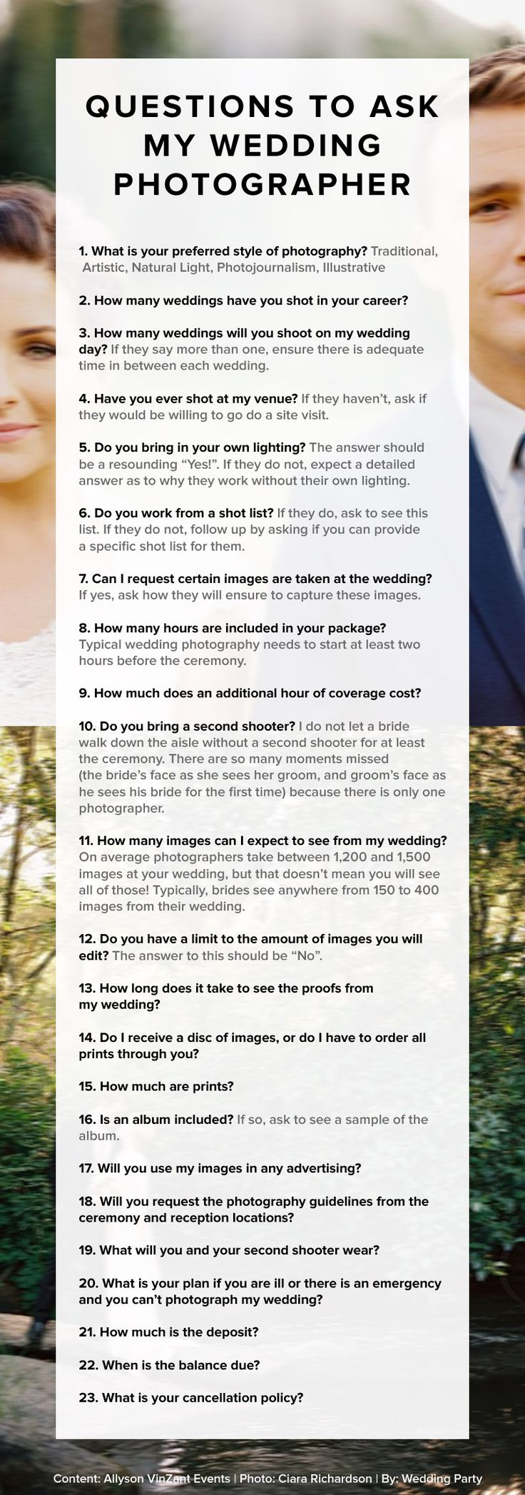 Questions to ask your wedding photographer! Great #wedding #advice. Pin now, read later. @Bailey Francine Searcy @Katlyn Lovett Holcomb