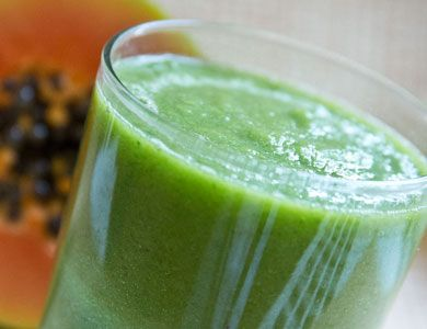 Vitamin Cocktail : Ingredients   Makes 1 serving: 1 cup papaya, 1/2 cup kale, 1/2 cup spinach, 1/2 banana, 1/2 green apple Directions:  Put all ingredients into blender. Blend until smooth. Enjoy!