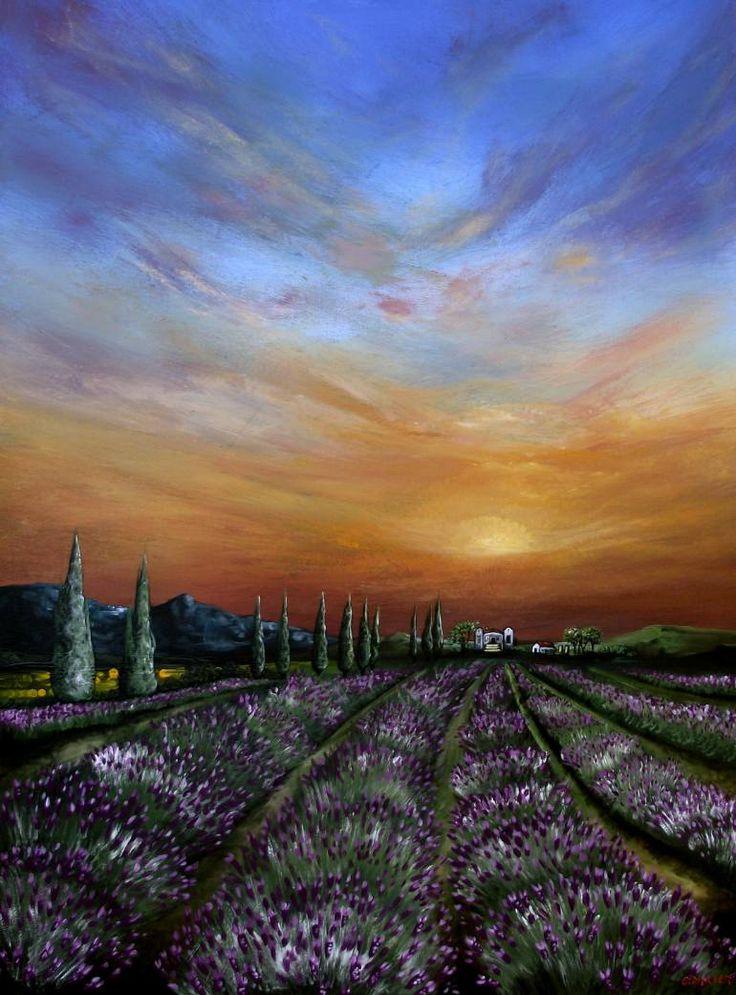 """Saatchi Art Artist Cherie Roe Dirksen; Painting, """"Lavender Field at Sunset"""" #art"""