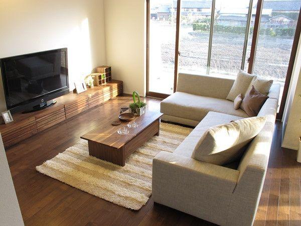 広いリビングダイニング、3m近いの大きなソファとテレビボードを提案したコーディネート空間をご紹介 の画像|家具なび ~きっと家具から始まる家づくり~