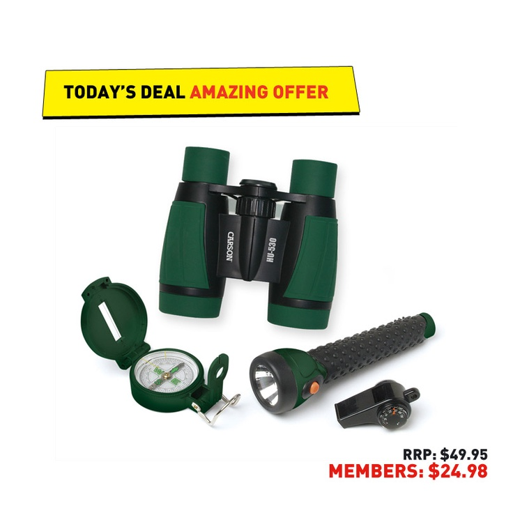 #50deals Day 33 - 13 June. When adventure calls, today's #50deals answers - the ultimate adventure pack including binoculars, compass, torch and more.