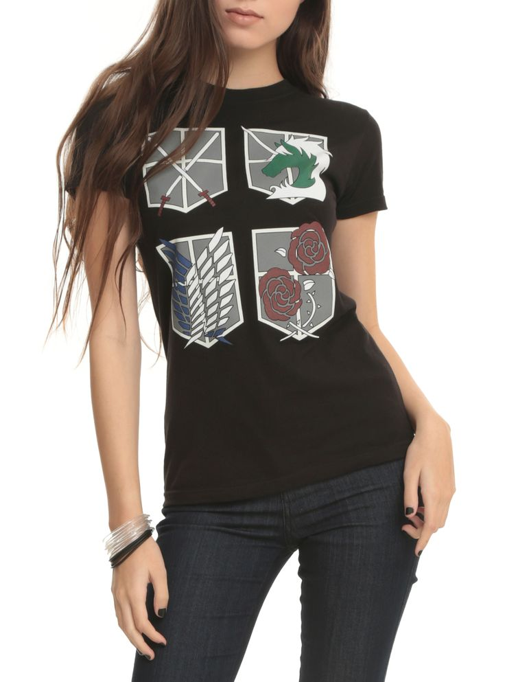Attack On Titan Four Shields Girls T-Shirt | Hot Topic