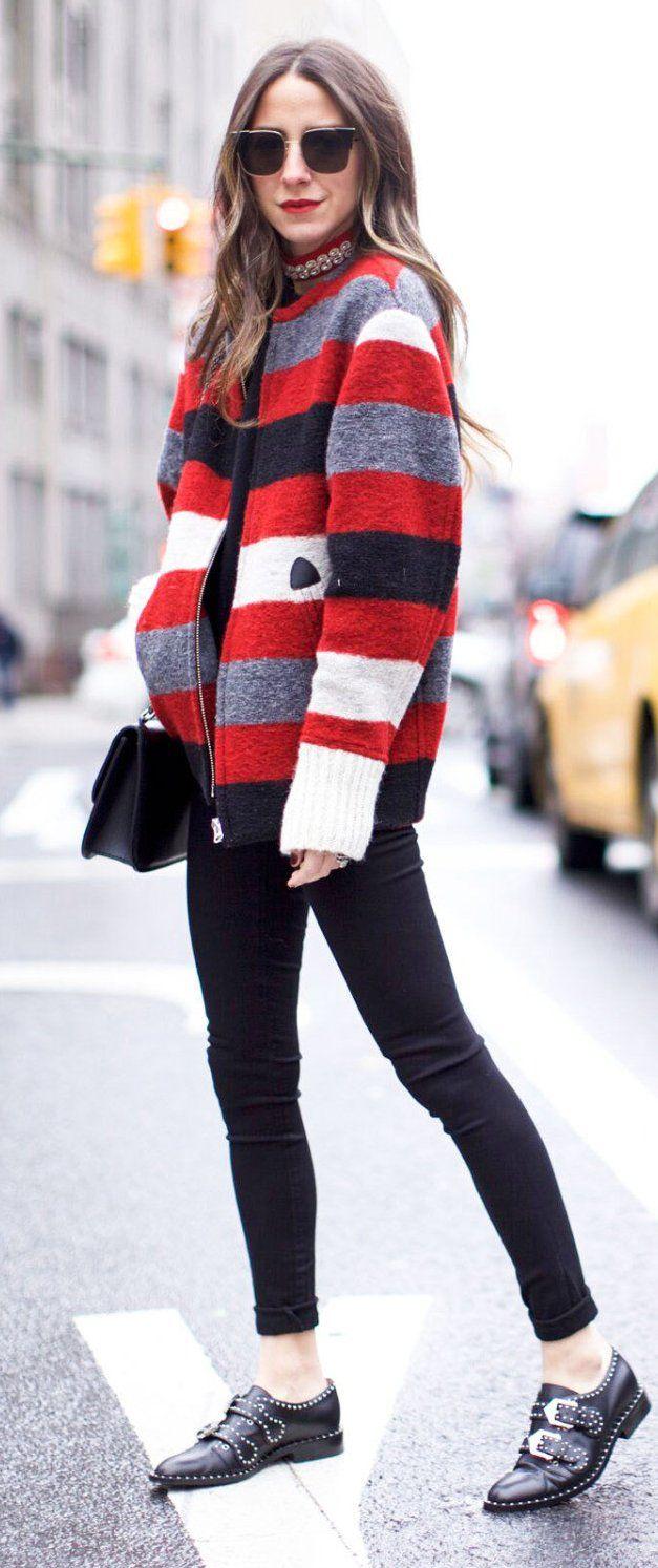 #winter #fashion /  Striped Jacket / Black Skinny Jeans / Black Boots