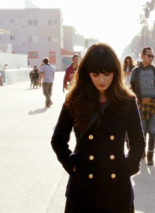 Zooey Deschanel - like the classic, shorter pea coat. Though I would change the buttons. I'm anti-gold.