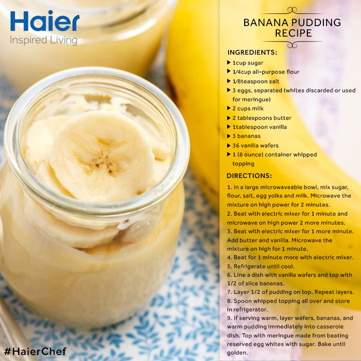 Over-ripe bananas? This winter, make an indulgent treat with it. #Microwave this #BananaPudding in minutes.  #Haier #Microwaves #Oven #Cooking #Recipe